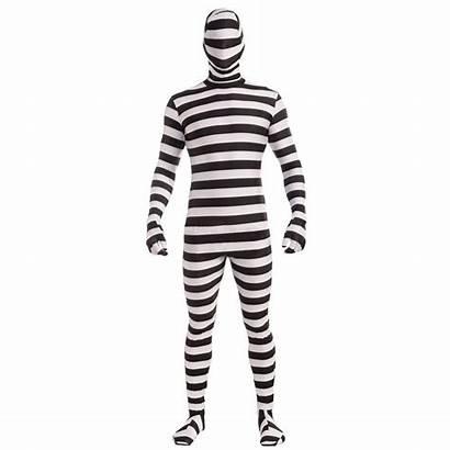 Morph Suit Halloween Adult Costume Striped Prisoner