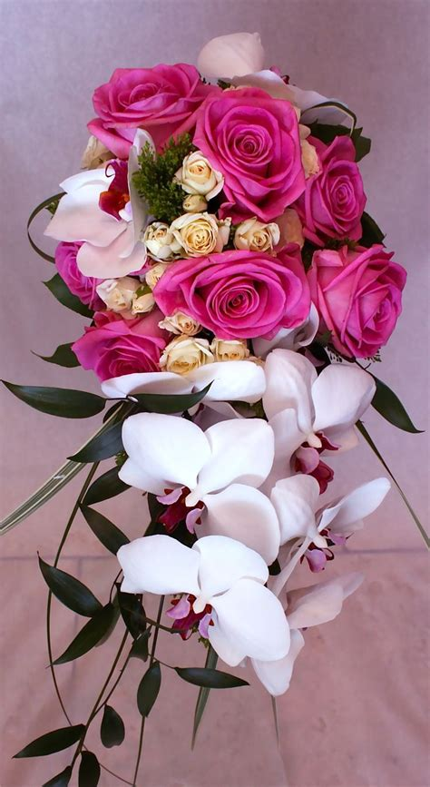 Elegant Wedding Bouquets With Orchids Cascading Orchid