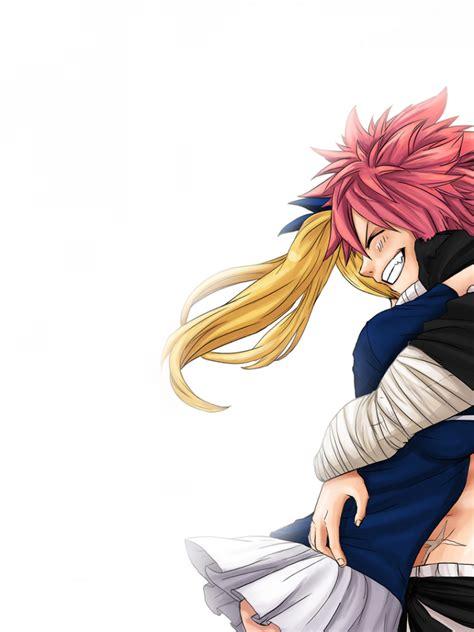 natsu  lucy fairy tail big smile hug