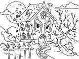 Haunted Coloring Pages Monster Ghost Halloween Printable Houses Cat Colouring Hideous Monsters Drawing Sheets Pictuure Funny Kidsplaycolor Ghosts Embroidery Simple sketch template