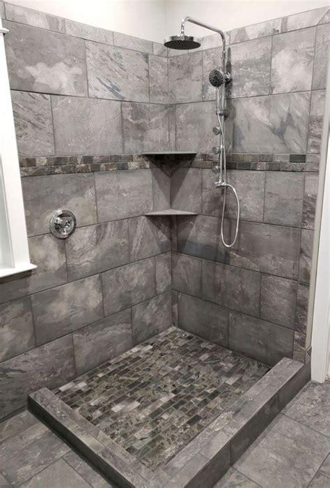 gorgeous gray tile combination   clients shower