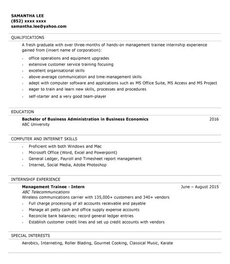 Management Trainee Resume Template by Resume Sle For Management Trainee Jobsdb Hong Kong
