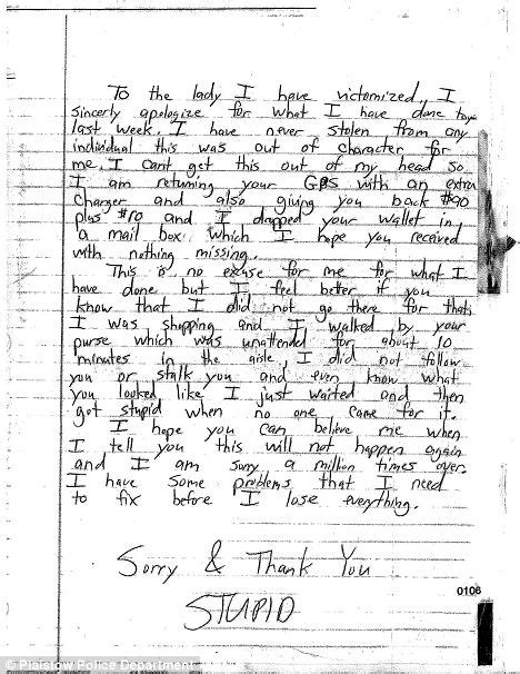 write  apology letter   police officer