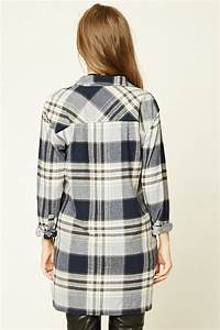 forever 21 longline check flannel shirt in gray lyst