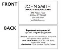 mini resume business card exles mini resume template and exles