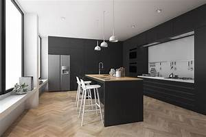 Modern, Kitchen, And, Dining, Room, With, Wood, Floor, 3d, Model