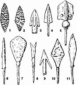 Arrowheads: (1) and (2) Neolithic stone arrowheads, (3 ...
