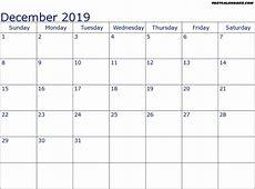 December 2019 Calendar Word yearly printable calendar