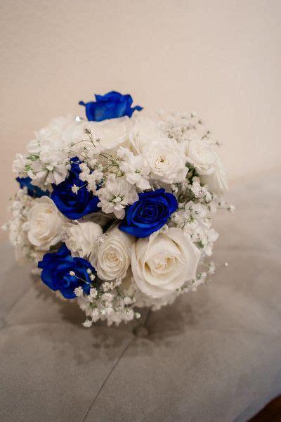royal blue cobalt blue silver  white wedding flowers