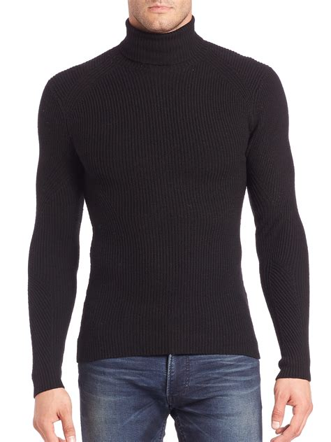 mens wool turtleneck sweater ralph black label ribbed merino wool turtleneck