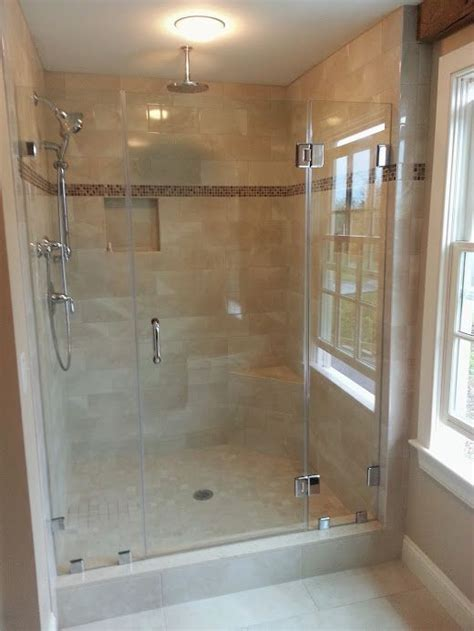 swinging frameless shower door and two panels with clips