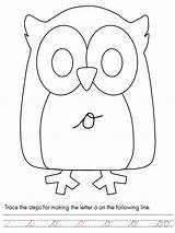 Coloring Script Letter Owl Lower Case Template Owls sketch template