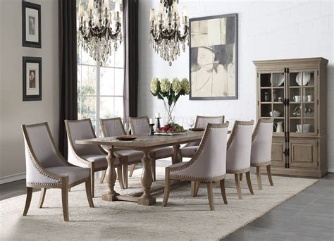 eleonore dining table   weathered oak  acme woptions