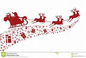Red Silhouette. Santa Claus Flying With Reindeer Sleigh ...