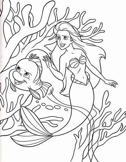 Coloring Ariel Princess Coloriage Disney Mermaid Fish