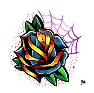 Traditional Rose Tattoo Flash