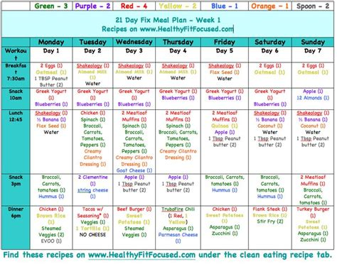 Meal Plan 21-Day Fix