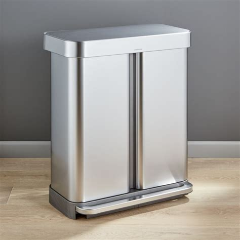 simplehuman  liter gallon recycler reviews crate  barrel   kitchen trash