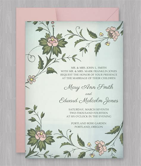 watercolor flowers invitation template  print