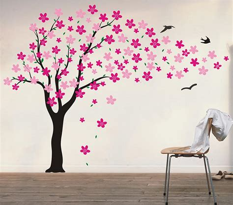 stickers chambre fille feerique amazon com pop decors drifting flowers and birds tree