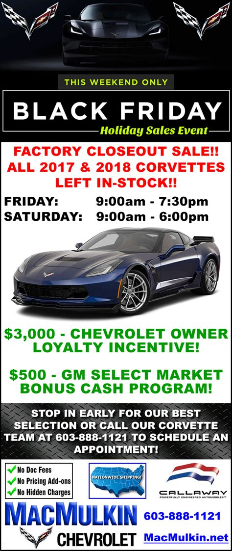 Chevrolet Black Friday by Black Friday Sales Event 2017 And 2018 Corvette Factory