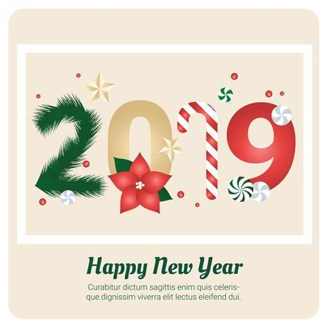 vector  year greeting card design
