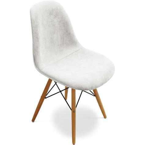 chaise en fibre de verre chaise fibre de verre blanc assise tissu blanc inspirée