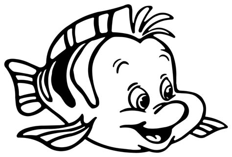 Little Mermaid And Flounder Pumpkin Stencil by Litle Mermaid Flounder Fish Animal Coloring