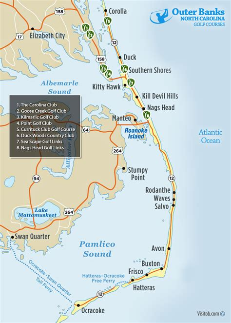 map  outer banks golf courses visit outer banks obx