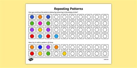 pattern worksheet worksheet copy recognise  repeat