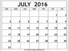 July Calendar 2016 Print Blank Calendars