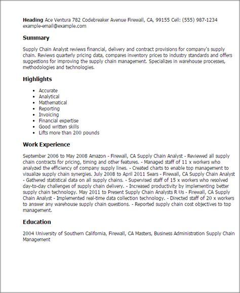 Supply Chain Analyst Resume by Supply Chain Analyst Resumes Keni Resume Exles