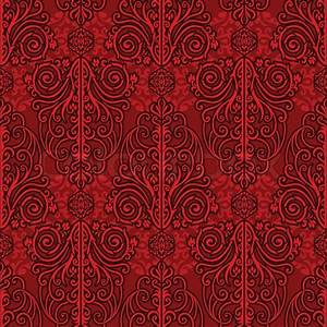 Abstract red background, royal, monochrome damask ornament