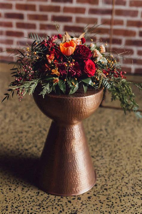 modern copper  burgundy wedding inspiration