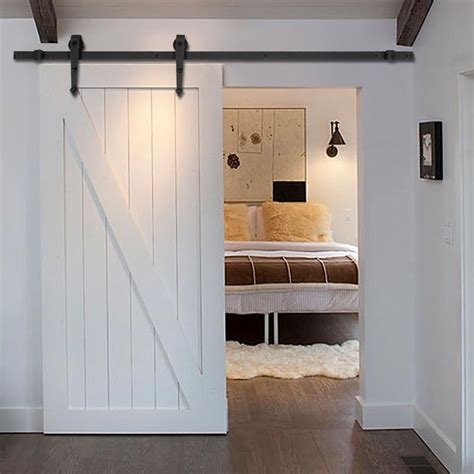 ft black modern antique style sliding barn wood door