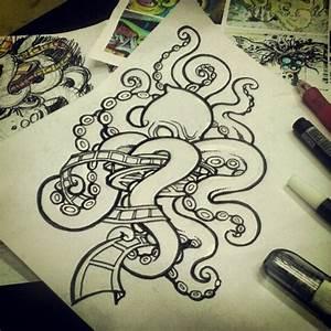 Drawn octopus school - Pencil and in color drawn octopus ...