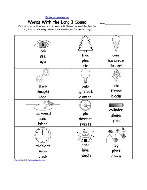 Long I Alphabet Activities At Enchantedlearningcom