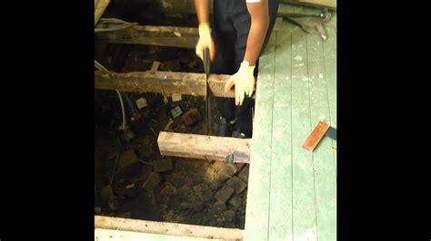 diy   replace rotten joists  flooring youtube