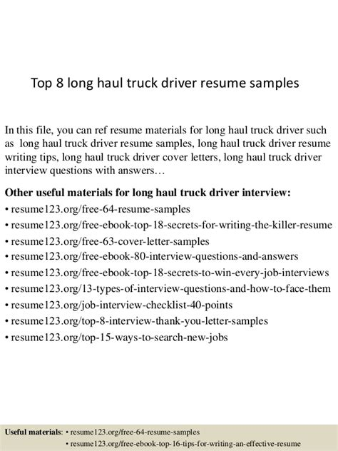 Haul Truck Driver Description Resume by Top 8 Haul Truck Driver Resume Sles