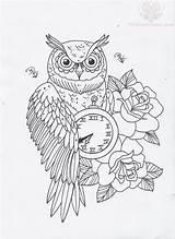 Coloring Tattoo Owl Clock Sketsa Tato Adult Designs Tattoos Hourglass Gambar Roses Burung Outlines Hantu Gypsy Rose Google Pocket Kleurplaten sketch template