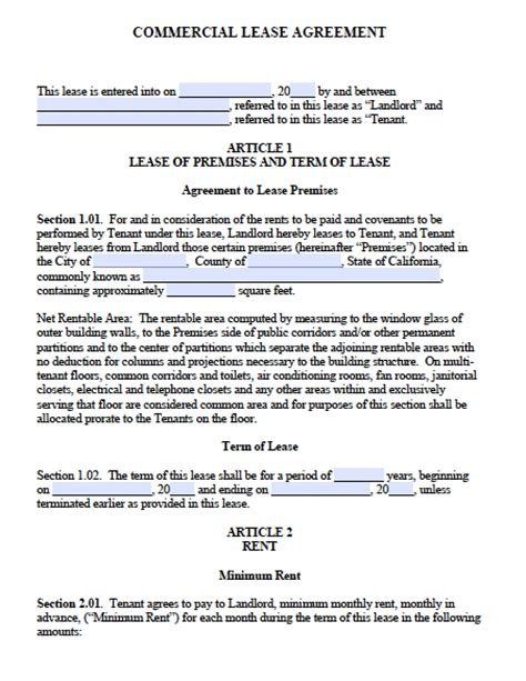 california commercial lease agreement  word