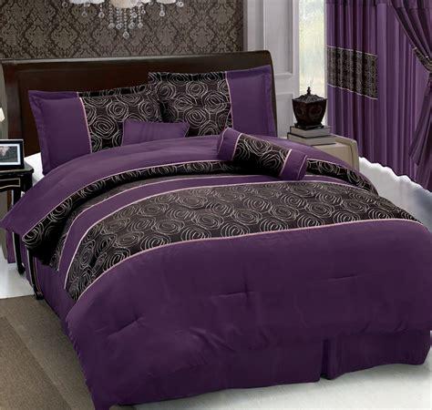 7pcs queen purple jacquard comforter set ebay