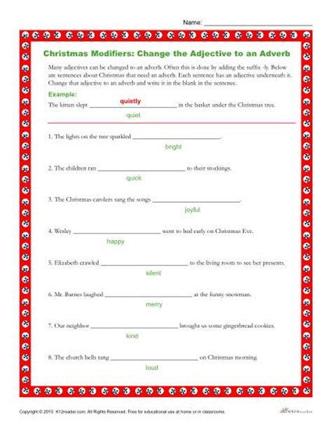 modifiers worksheet change the adjectives