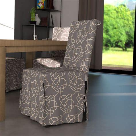 housse de chaise tissu housse de chaise graphique gris et motif blanc housse de