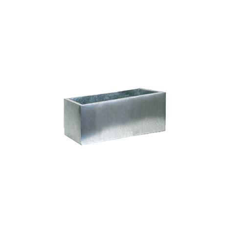 grand pot rectangulaire en zinc argent l60 h30