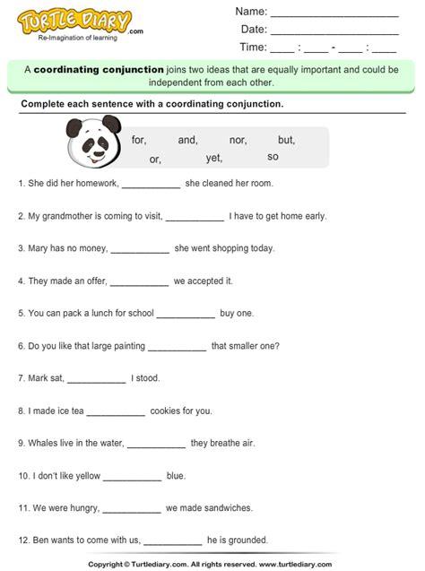 write  missing coordinating conjunction worksheet