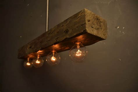 rustic wood beam for chandelier id lights