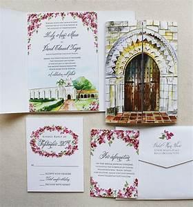 a peek in to the studio watercolor venue illustration With wedding invitation venue picture