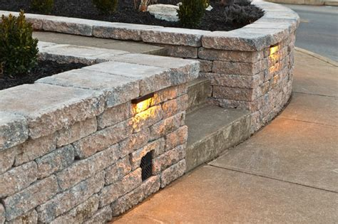 retaining wall with lights retaining sitting walls