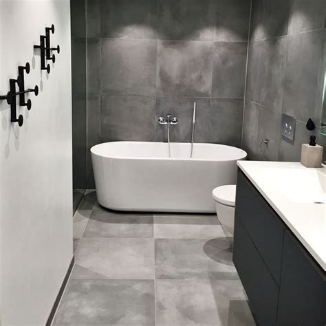 Badezimmer Fliesen Ideen Grau by Bathroom Grey Cement Tiles 60x60 My House